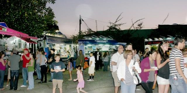 shoppers and food trucks